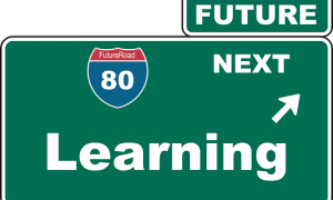 a sign that says future next learning
