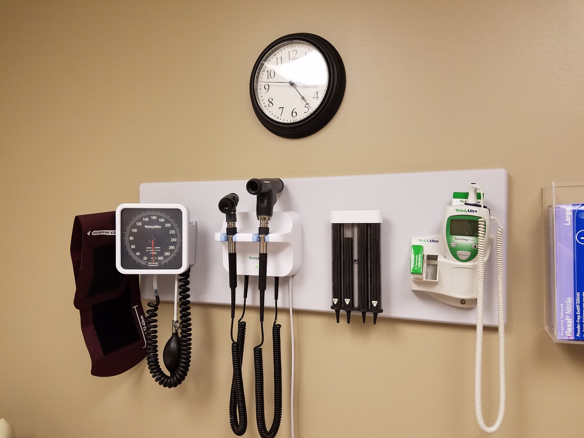 some medical instruments on a wall
